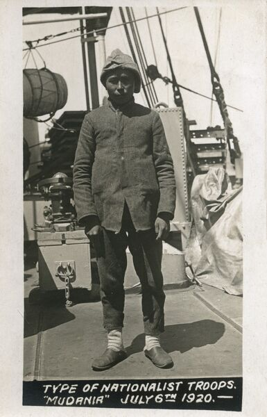 A captured Nationalist Turkish soldier on board the HMS Royal Sovereign during the assault on Mudanya - July 6th 1920