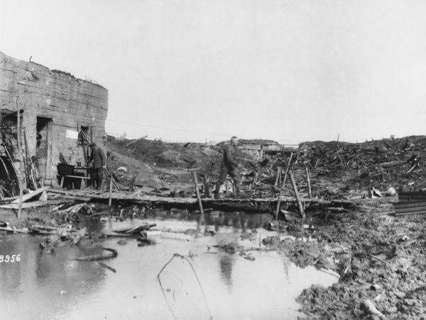 German captured concrete shelter on the canal at Hollebek in the Netherland during World War I