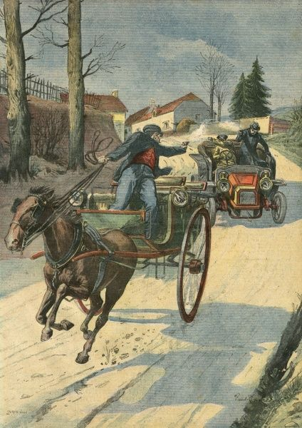 At Charpennes, France, a thief hi-jacks the carriage of M. Rodarie, who gets a motorist to pursue the robber : after a long chase, involving pistol shots, the thief is stopped. Date: 1909