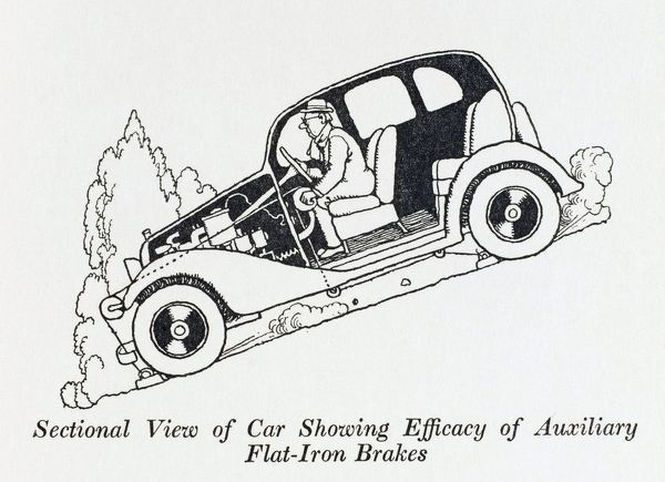 Sectional view of a car, showing the Efficacy of the auxiliary flat iron brakes. Please note: Credit must appear as (c) Courtesy of the estate of Mrs J.C.Robinson/Pollinger Ltd/Mary Evans Picture Library