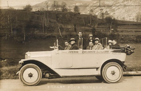 A large car taking nine pilgrims from Gavarnie to the holy grotto at Lourdes