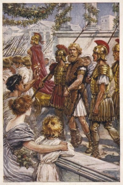 CARACTACUS The captured British chief, also known as Caradoc, is led through the streets of Rome in chains