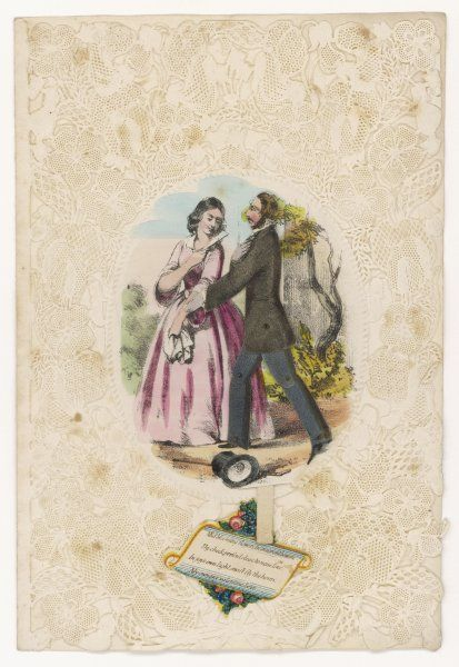 An elaborate Victorian card showing two lovers - the male figure can be made to stand or kneel by pulling a tab !