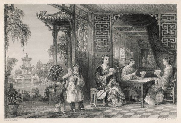 Ladies of a mandarin's family playing cards; two children are looked after by a servant