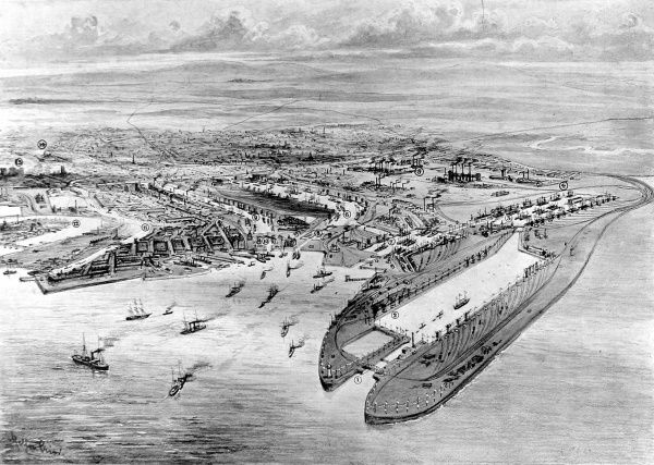 Aerial view of Cardiff Docks, South Wales, with the then-newly opened Queen Alexandra Dock (centre right), 1907