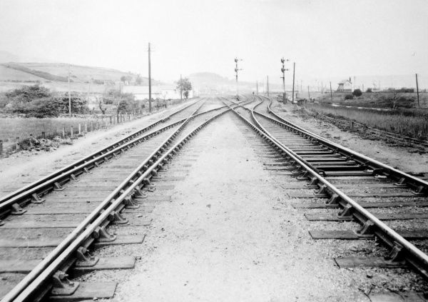 View of the track at Cardonnel Junction, near Neath, on the Great Western Railway, South Wales