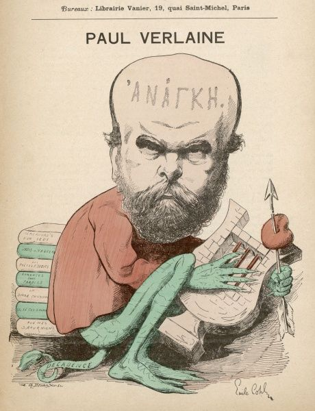 Paul Verlaine, French poet associated with the Symbolist movement. Seen here in a caricature, with the word 'Anarchy' written across his forehead, playing a lyre, with an arrow stuck through a heart