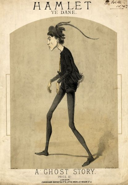 A caricatured Hamlet, probably based on Sir Henry Irving, on a music sheet entitled Hamlet Ye Dane, A Ghost Story, with music by J B Lawreen. Hamlet is depicted in profile, in his customary black costume, and is very thin