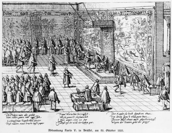 The emperor Carl V abdicates, leaving the Netherlands to his son Felipe II : the region will henceforth be a Spanish possession and the scene of continual resistance
