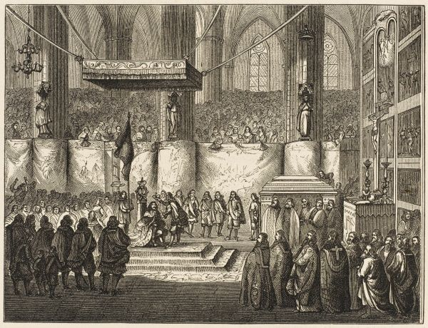 When Christina abdicates, the crown passes to Carl, grandson of Carl IX : he is crowned in the cathedral at Upsala