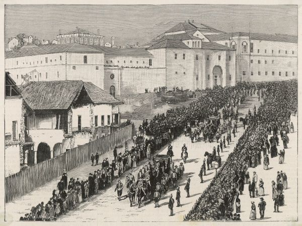 Carlos I leaves the Palace of Cortes at Lisbon, on the day of his proclamation as King of Portugal