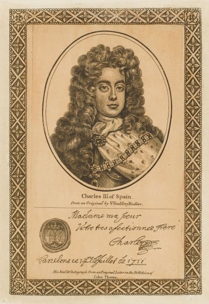 CARLOS VI (III) son of emperor Leopold I, claimant to Spanish throne, ruled (sort of) 1700 but rejected, leading to Spanish Succession war, with his autograph