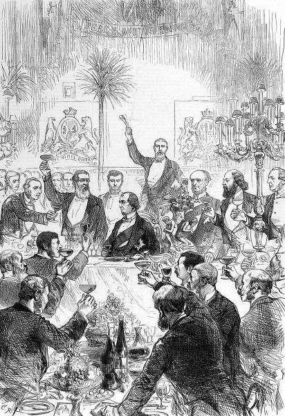 The Carlton Club Banquet at the Riding-School, Knightsbridge, London showing a toast to Benjamin Disraeli (1804-1881), Lord Beaconsfield