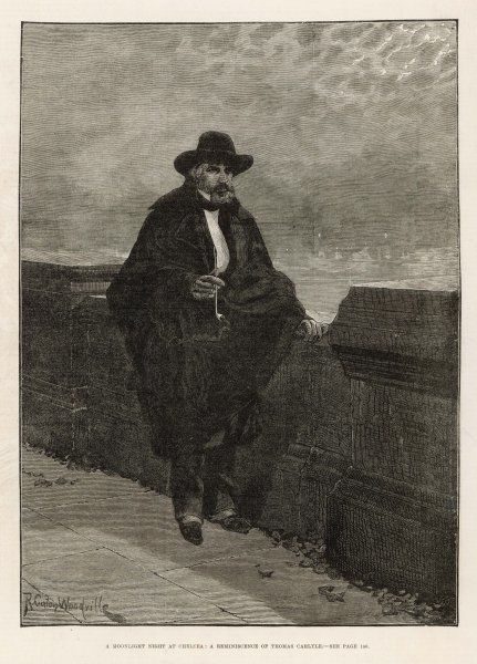 THOMAS CARLYLE Scottish philosopher and historian, enjoying a moonlit evening outside his Chelsea home