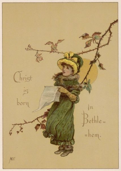 'Christ is born in Bethlehem' - a girl sings beneath a wintry bough