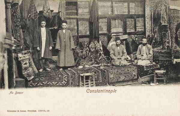 Carpet Selling in the Constantinople Bazaar from an open stall