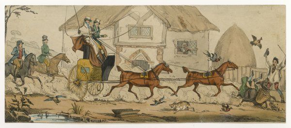 A gentleman's tandem causes chaos and confusion - and a fine display of female leg ! - when it trots along a village street, scattering livestock and upsetting a market cart