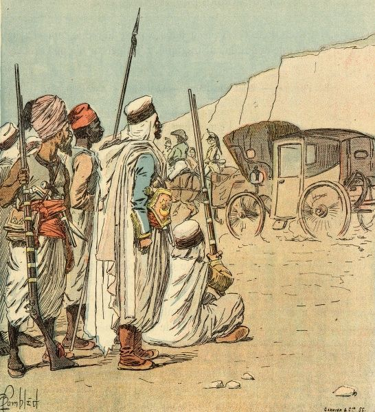 Napoleon astonishes the Arabs with his personal carriage