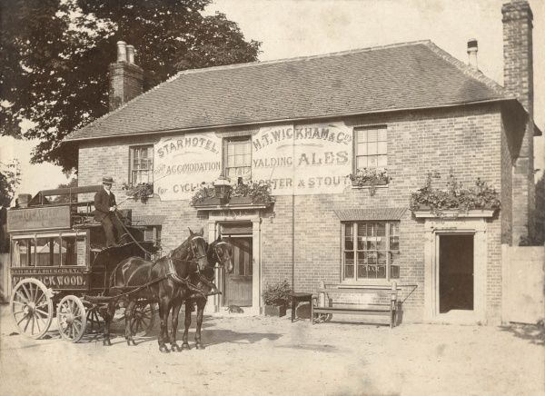 A horse-drawn bus outside the Star Hotel in Matfield, Kent (now the Star Inn). The bus is from Tunbridge Wells, and serves the villages of Matfield, Brenchley and Paddock Wood. The Star Hotel and public house offers good accommodation for cyclists