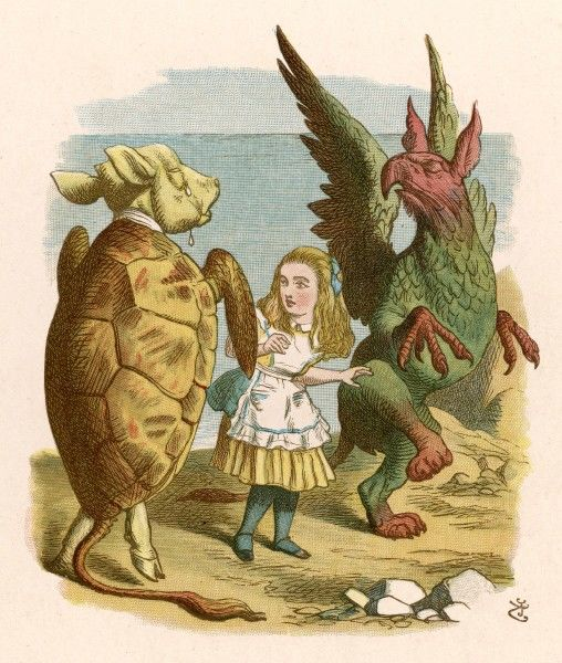 Alice with the Mock Turtle and the Gryphon