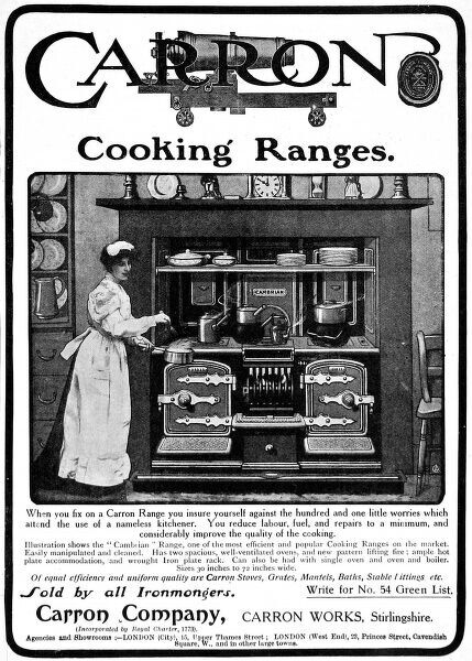 Advertisement for the 'Cambrian' cooking range, manufactured by the Carron Company of Stirlingshire, Scotland. A cook or scullery maid can be seen stirring a saucepan