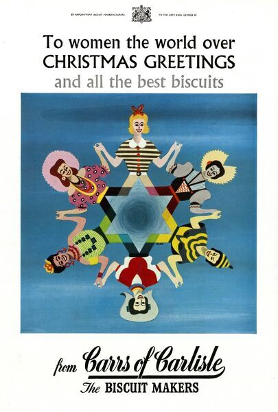 Advertisement for Carrs of Carlisle biscuit makers featuring a symmetrical illustration of a group of stylised women of the world, holding hands in a display of international harmony