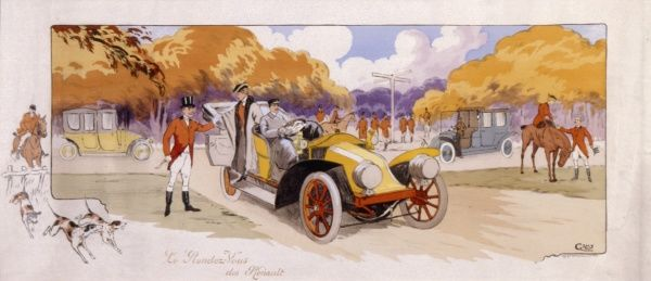 A watercolour painting depicting a large early car arriving in a country location, where it appears the local hunt are about to set off