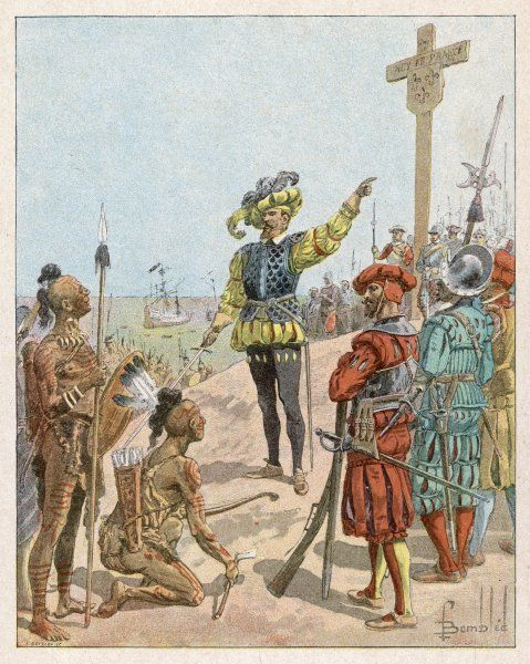 Jacques CARTIER takes possession of the Baie de Gaspe in the name of the king of France