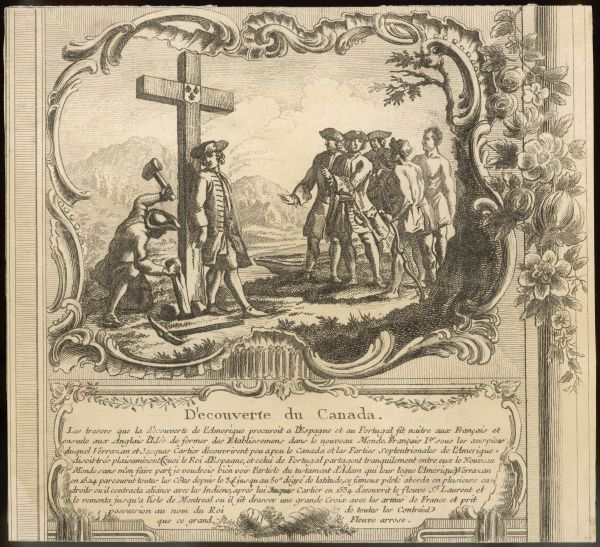 Jacques Cartier, wearing 18th century dress, raises a cross at Montreal to mark his discovery of the St Lawrence river. (A nice example of anachronism in illustration !)