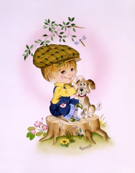 A cartoon-style illustration of a young boy with his pet dog, wearing a flat cap and sat atop a tree stump