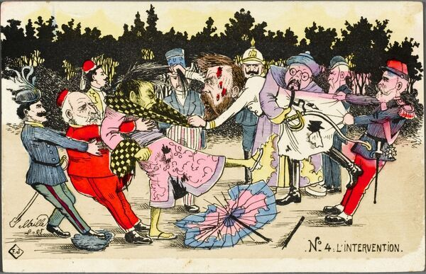 Card 4 of 5 - 'Intervention'. A cartoon interpretation of the Russo-Japanese war, acted out by the principal ruling individuals from the International Community