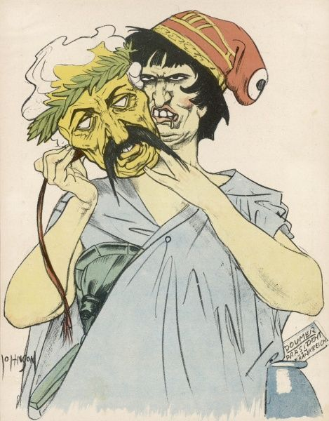 A German cartoon showing the mask of peace worn by the French during the Locarno Treaties