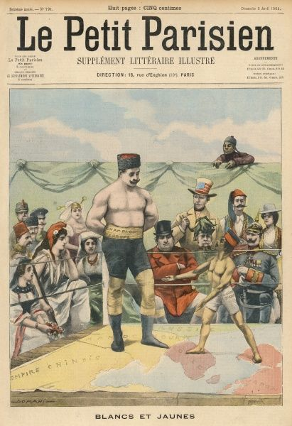 The world (represented by national archetypes such as John Bull, Marianne and Uncle Sam) watches the fight between Russia (as champion of Europe) and Japan (Asia's champion)