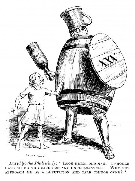 A cartoon satire on Lloyd George and the drink trade, in an echo of David and Goliath