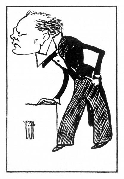 A cartoon depiction of Winston Churchill, British statesman and historian