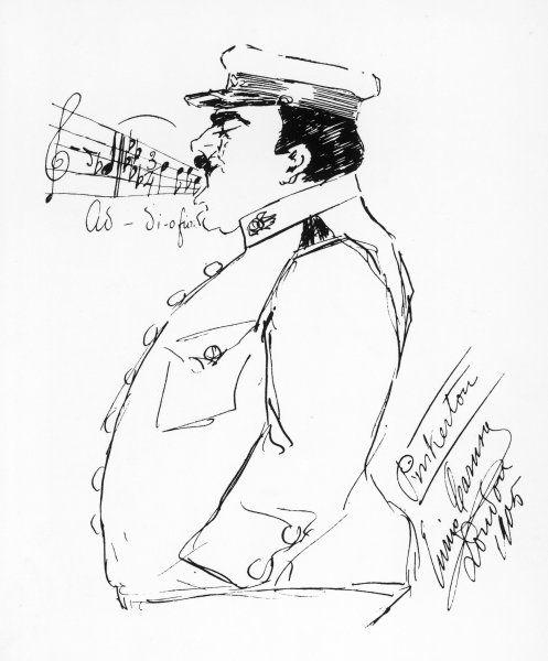 Signed self-caricature by the opera singer Enrico Caruso : Caruso as Lieutenant Pinkerton