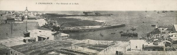 View of the Harbour, Casablanca, Morocco with shipping lying off the ciast awaiting the given slot to moor up