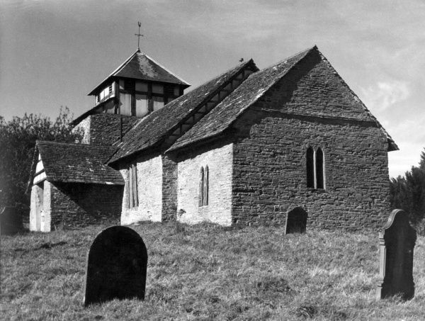 The massive and ancient church of Cascob, which lies tucked away in a remote valley at the north eastern end of Radnor Forest, Radnorshire, Wales. Date: 1950s photo