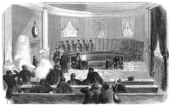 French magistrates are attacked by a mentally disturbed assassin, Casimir Guilhem who accused the court of ignoring law. Date: 1860