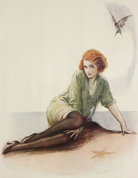Illustration by Charles Buchel (1872-1950) showing an actress, probably Pauline Chase, in the principal role of Peter Pan. Tinkerbell hovers close by