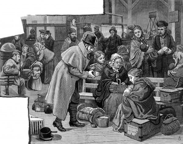 Engraving showing newly arrived immigrants at the Castle Garden immigration depot, New York, 1886. The image shows a man offering a baby a drink, with everyone else looking on concerned
