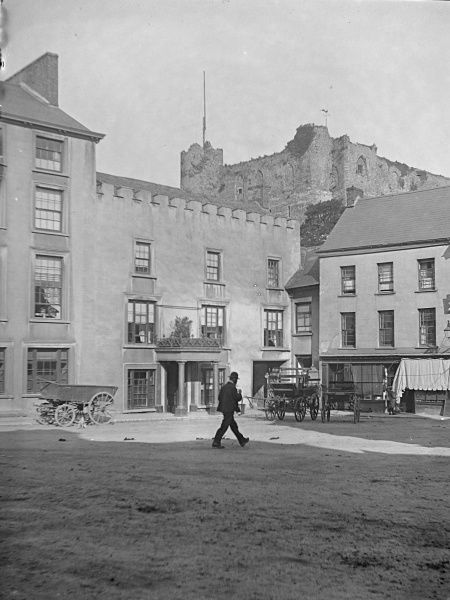 View of Castle Square and the hotel, with the castle just visible above, in Haverfordwest, Pembrokeshire, Dyfed, South Wales