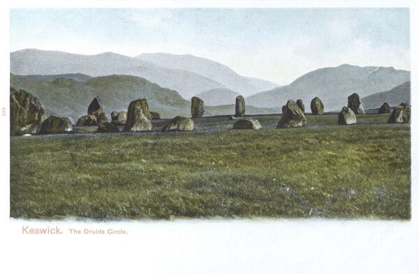 The Druid's Circle - Keswick, Cumbria - The Castlerigg Stone Circle - one of the most visually impressive prehistoric stone monuments in the United Kingdom. The circle has views across to Skiddaw, Blencathra and Lonscale Fell. Date: circa 1904