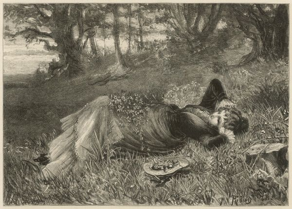 A young lady with arms behind her head, reclines in a field. Flowers are strewn all around her, even within the hat that lies by her side
