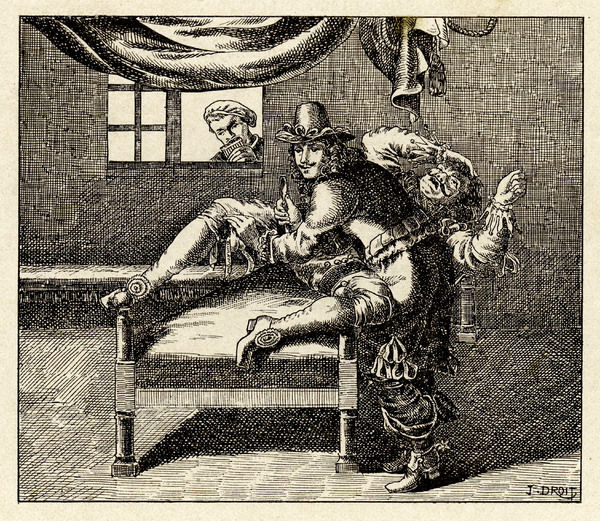 A fearful patient is restrained on a low couch and castrated