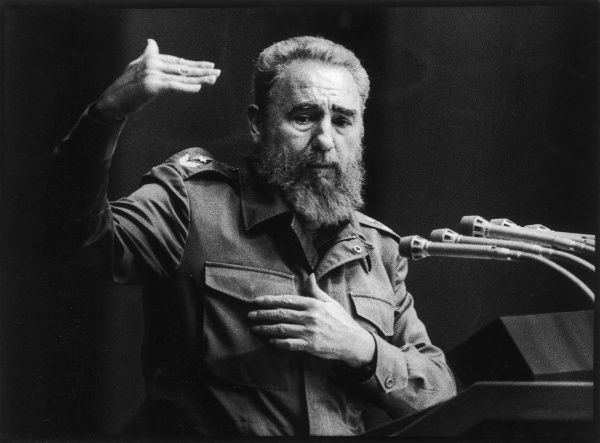 FIDEL CASTRO - President of Cuba, giving a speech in Havana in 1993. *UNAVAILABLE FOR USE IN ASIA AT PRESENT*
