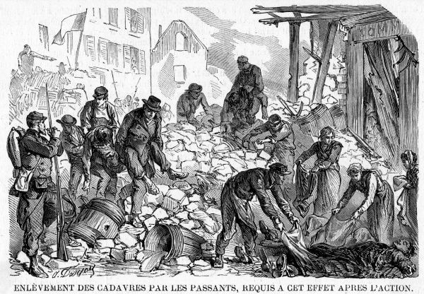 Casualties at the barricades, during the last days of the fighting : bodies are taken away by locals