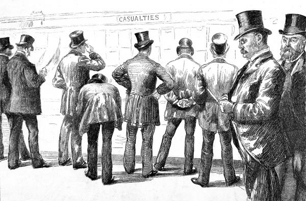 Illustration showing a group of insurance underwriters examining the 'Casualties Board' at Lloyd's of London, 1886. Details of wrecked and damaged ships were placed on this board, as many were insured at Lloyd's