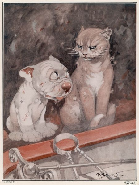 Bonzo finds that sharing life with the household cat bears out the old phrase - a cat-and-dog life. Bonzo, the cartoon canine creation of artist George Studdy in The Sketch, finds that an unfriendly feline housemate does not make for a tranquil home life