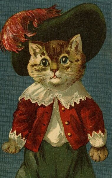 Cat in feathered hat by gh Thompson. George Henry Thompson (1859-1959) specialised in illustratinghumorous animals. He was also a landscape painter. This image in books and postcards by Ernest Nister. Date: circa 1904